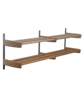 Meja Skohylde 2 hylder - 115cm i massiv træ og vægbeslag i børstet stål
